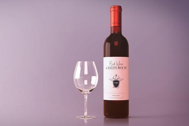Maquete de garrafa de vinho tinto Psd Premium