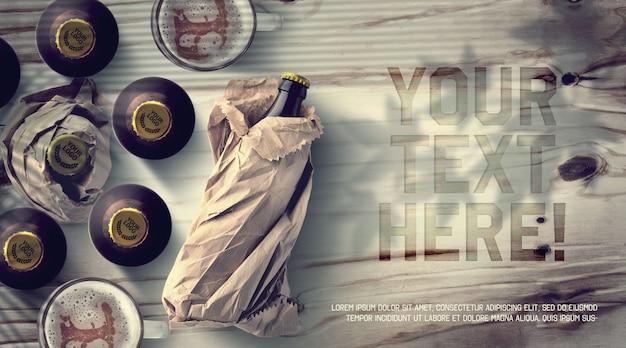 Maquete de garrafas e tampas de cerveja Psd Premium