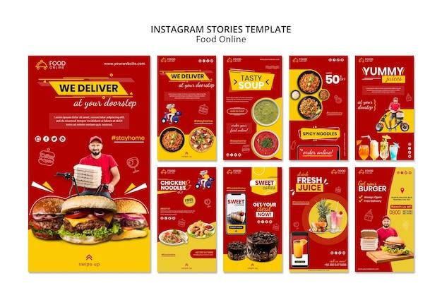 Maquete de histórias de instagram de conceito online de comida Psd grátis