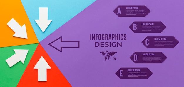 Maquete de infográfico com diferentes setas direcionadas Psd Premium