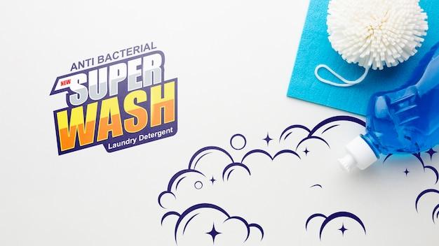 Maquete de limpeza com detergente para loiça Psd grátis