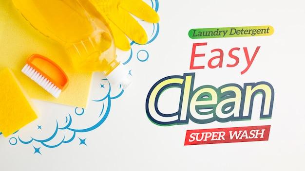 Maquete de limpeza fácil com ferramentas Psd grátis