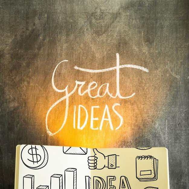 Maquete de livro aberto com o conceito de ideias Psd grátis