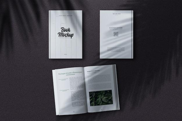 Maquete de livro de capa dura da vista superior Psd Premium