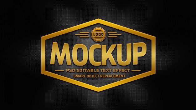 Maquete de logotipo 3d ouro Psd Premium