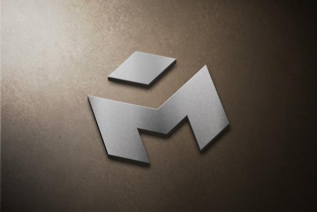 Maquete de logotipo 3d prata no concreto Psd Premium