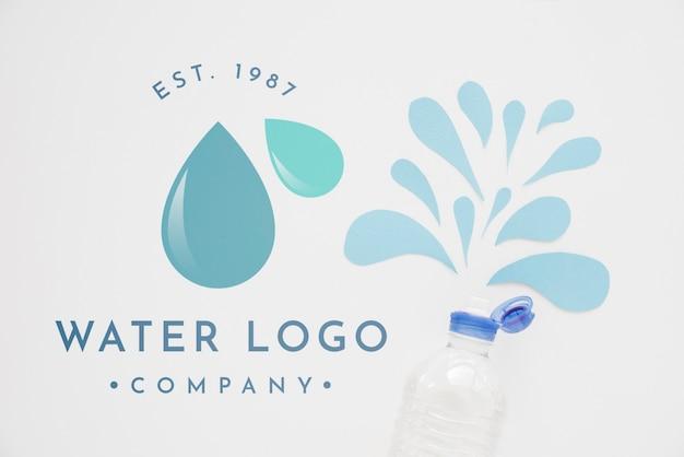 Maquete de logotipo de água na copyspace Psd Premium