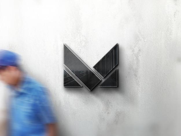 Maquete de logotipo de empresa de parede de rua realista Psd Premium
