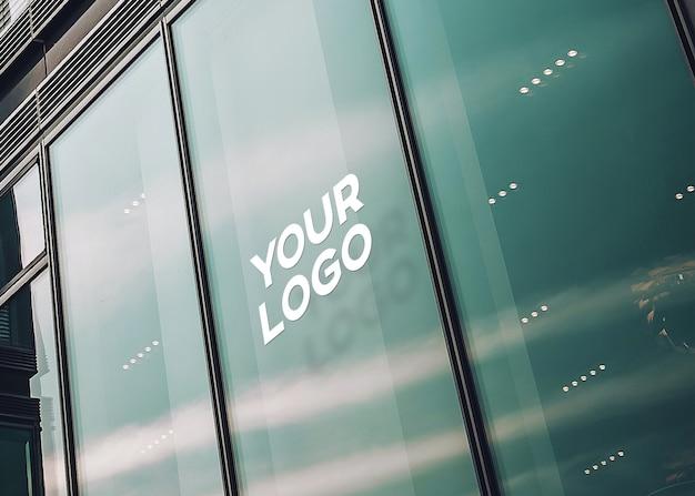 Maquete de logotipo de escritório de vidro Psd Premium