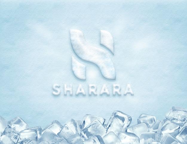 Maquete de logotipo de gelo Psd Premium