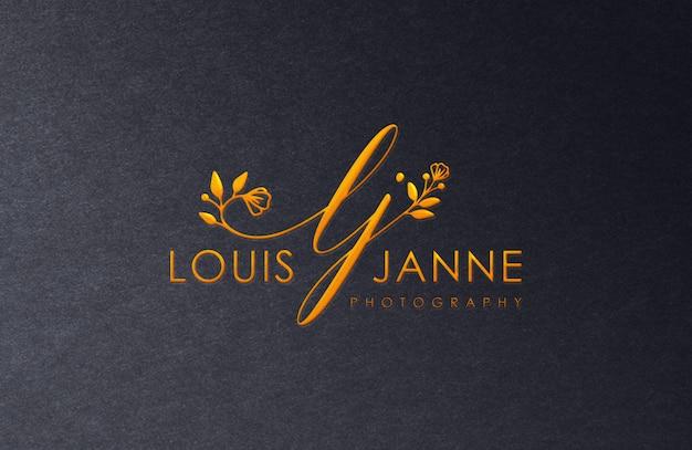 Maquete de logotipo de luxo dourado Psd Premium