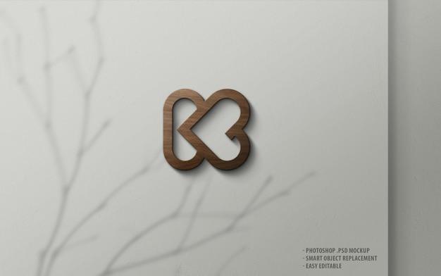 Maquete de logotipo de luxo madeira 3d na parede Psd Premium