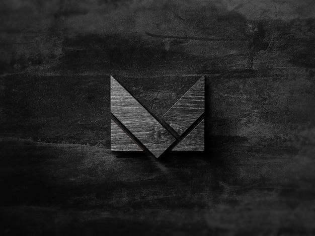 Maquete de logotipo de madeira preta 3d Psd Premium