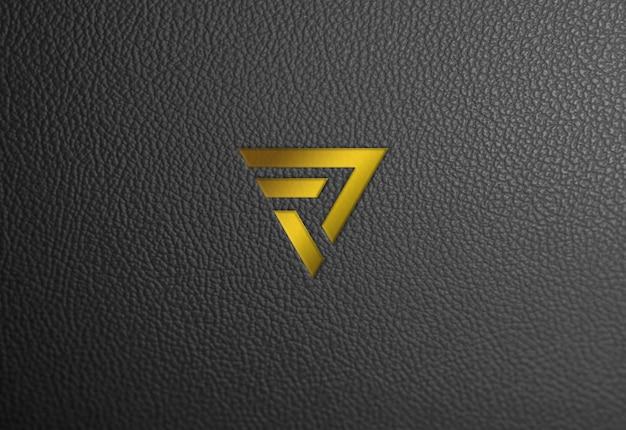 Maquete de logotipo de ouro de textura de couro Psd Premium