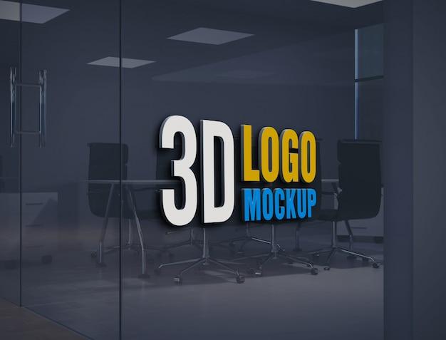 Maquete de logotipo de parede, maquete de logotipo de parede de vidro de escritório grátis maquete de logotipo de parede, maquete de logotipo de sala de vidro de escritório Psd Premium