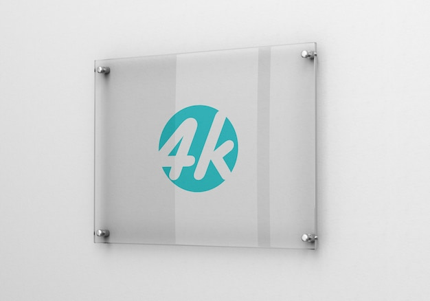 Maquete de logotipo de sinalização de vidro fotorrealista Psd Premium