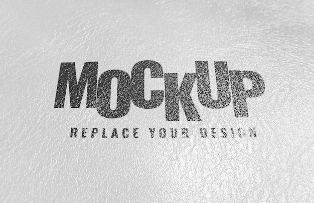 Maquete de logotipo de textura de tela de impressão de couro branco Psd Premium