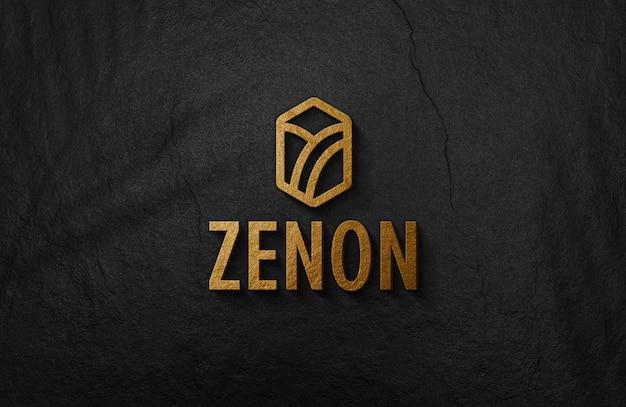 Maquete de logotipo dourado em relevo 3d na parede de superfície preta Psd Premium