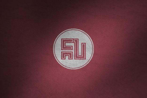 Maquete de logotipo em couro vermelho Psd Premium