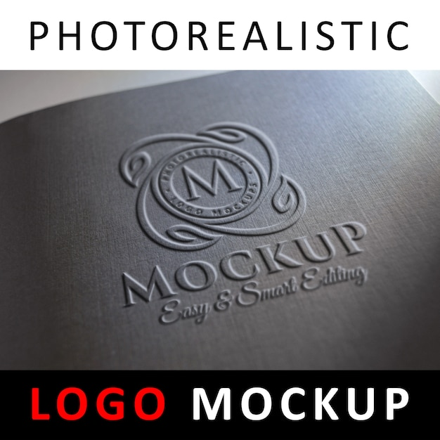 Maquete de logotipo - logotipo em relevo na capa preta Psd Premium