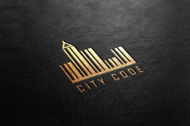 Maquete de logotipo perfurado de couro dourado de luxo Psd Premium