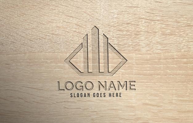 Maquete de logotipo perfurado madeira realista 3d moderna Psd Premium