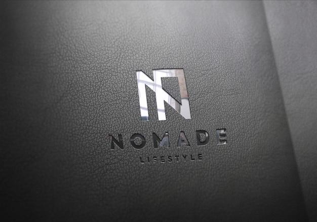 Maquete de logotipo preto couro Psd Premium
