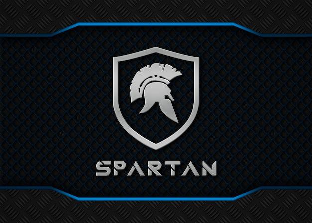 Maquete de logotipo spartan metal sobre fundo azul metálico Psd Premium