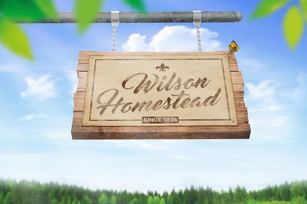 Maquete de madeira de suspensão Psd Premium