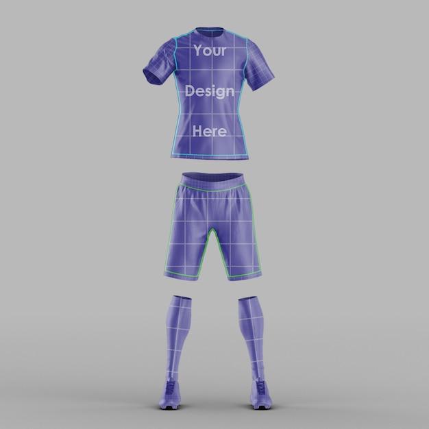 Maquete de malha de futebol com vista frontal isolada Psd Premium
