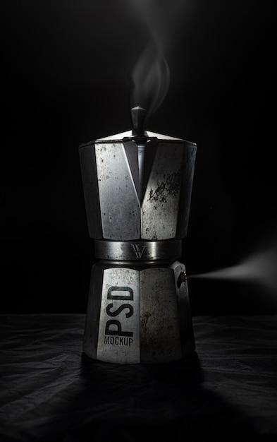 Maquete de máquina de café enferrujado Psd Premium