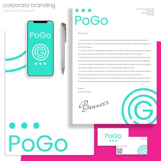 Maquete de marca corporativa com carta, pasta e cartões de visita Psd Premium