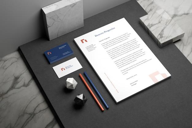 Maquete de marca de papelaria mínima Psd Premium