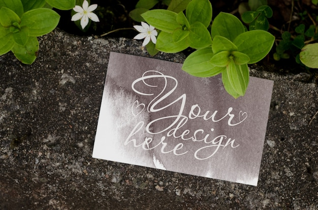 Maquete de marca em branco de verão em fundo escuro com flores Psd Premium