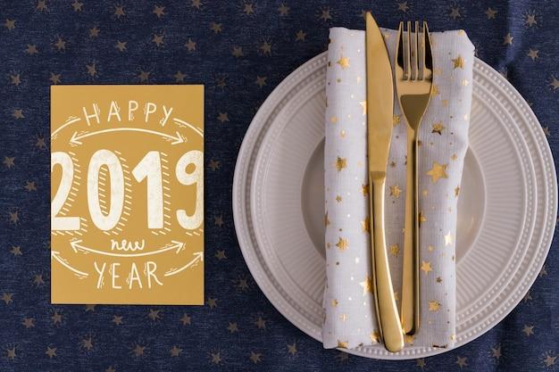 Maquete de menu com o conceito de ano novo Psd grátis