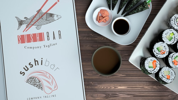 Maquete de menu criativo sushi bar Psd grátis