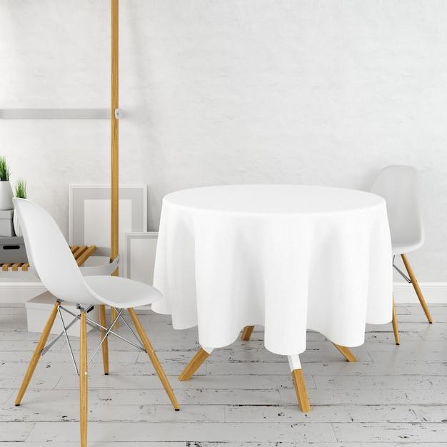 Maquete de mesa de jantar redonda com um pano branco e cadeiras modernas Psd grátis