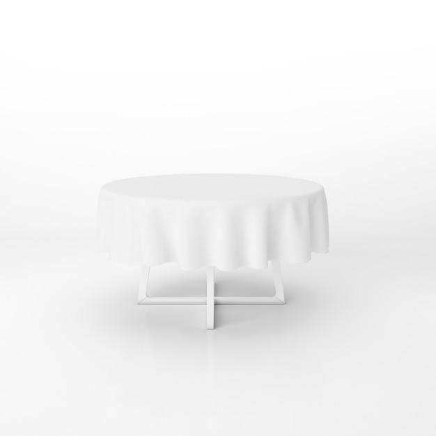 Maquete de mesa de jantar redonda com um pano branco Psd grátis