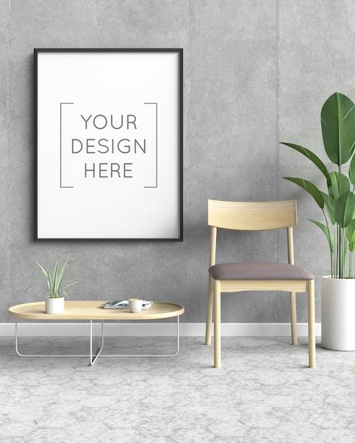 Maquete de moldura de foto com cadeira e planta Psd Premium