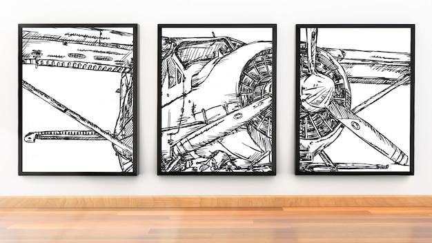 Maquete de moldura de foto de três molduras no quarto moderno Psd Premium