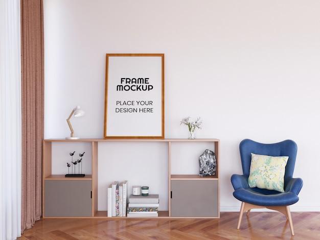 Maquete de moldura de foto em branco na mesa Psd Premium