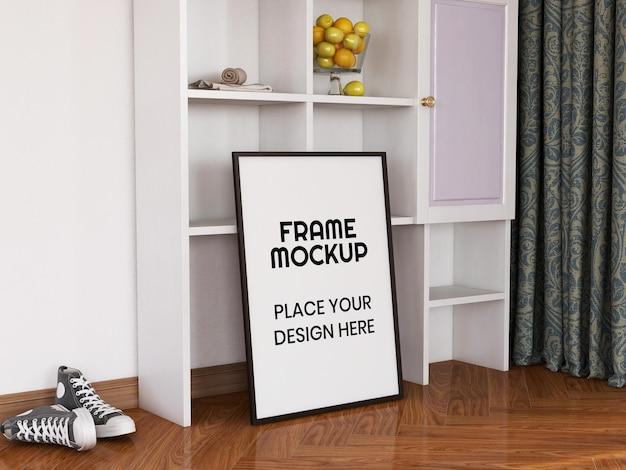 Maquete de moldura de foto em branco no chão Psd Premium
