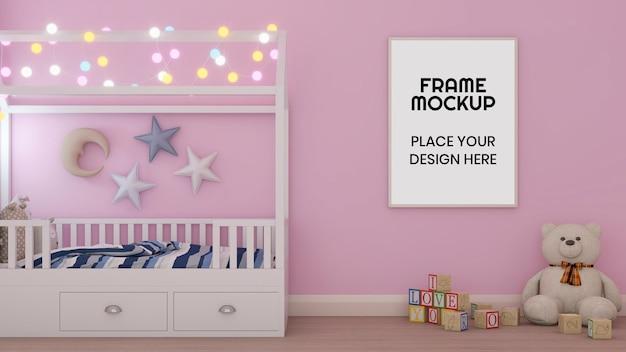Maquete de moldura de foto em branco no quarto Psd Premium