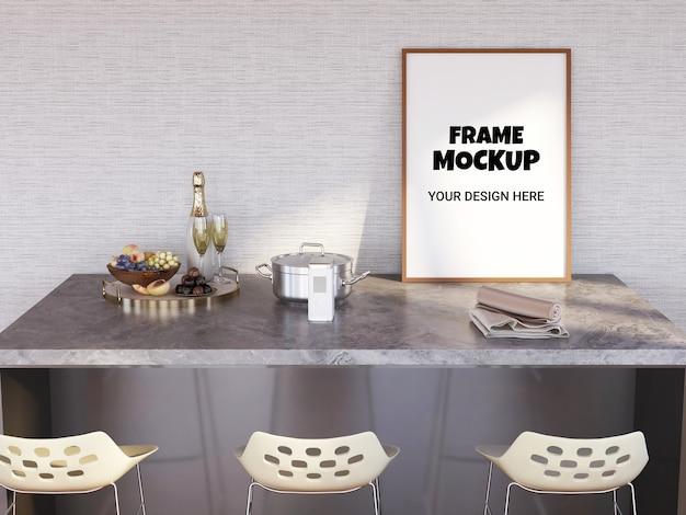 Maquete de moldura de foto na mesa do bar Psd Premium