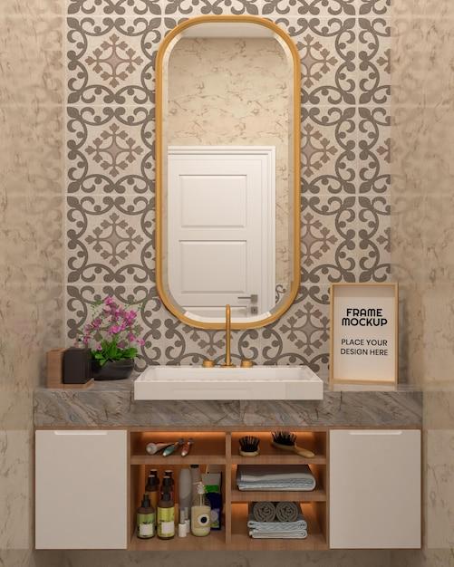 Maquete de moldura de foto no banheiro Psd Premium