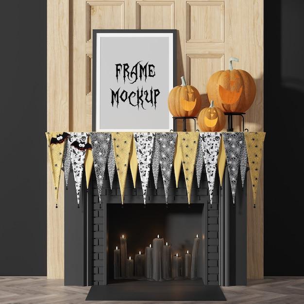 Maquete de moldura de foto para festa de halloween, ao lado de abóboras Psd Premium