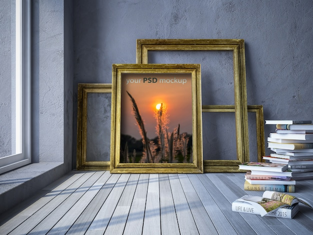 Maquete de moldura de foto Psd Premium