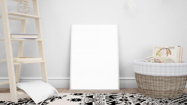 Maquete de moldura em branco com objetos decorativos Psd grátis