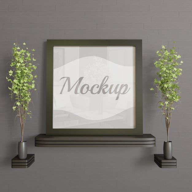 Maquete de moldura quadrada preta na parede de madeira desk.simple moderna e maquete de minimalismo Psd Premium