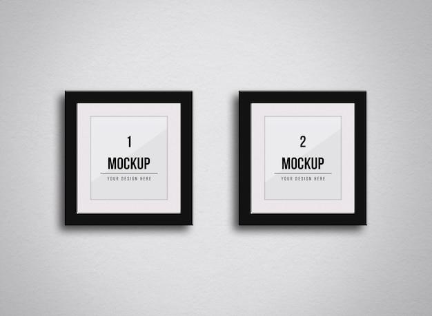 Maquete de molduras quadradas na parede Psd Premium
